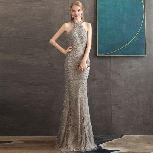 High-end Grey Evening Dresses  2020 Trumpet / Mermaid Halter Sleeveless Beading Floor-Length / Long Ruffle Backless Formal Dresses