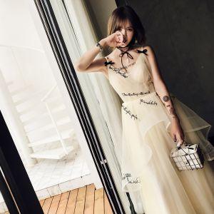 Lovely Champagne Prom Dresses 2018 A-Line / Princess Cascading Ruffles Spaghetti Straps Sleeveless Backless Floor-Length / Long Formal Dresses