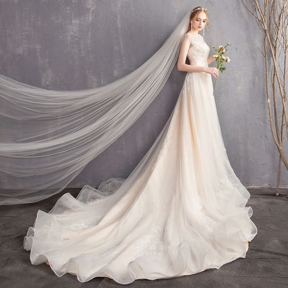 Chic / Beautiful Champagne Wedding Dresses 2018 A-Line / Princess Lace Scoop Neck Backless Sleeveless Chapel Train Wedding