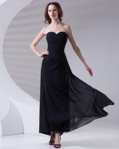 Mode Herzförmiger Ausschnitt Knöchellang Rüsche Chiffon Brautjungfernkleider