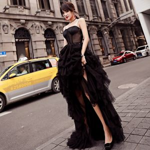 Modern / Fashion Black Evening Dresses  2018 A-Line / Princess See-through Asymmetrical Spaghetti Straps Backless Sleeveless Formal Dresses