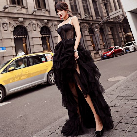Modern / Fashion Black Evening Dresses  2018 A-Line / Princess See-through Asymmetrical Spaghetti Straps Backless Sleeveless Formal Dresses