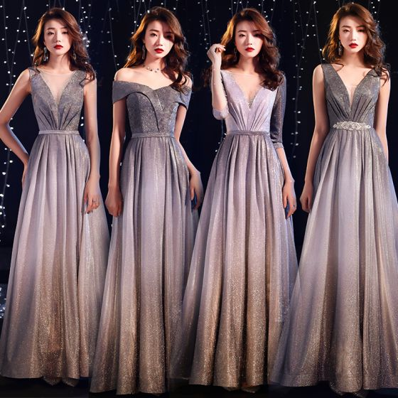 Charming Starry Sky Gradient-Color Evening Dresses  2019 A-Line / Princess 1/2 Sleeves Backless Glitter Polyester Floor-Length / Long Formal Dresses