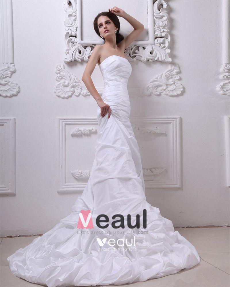 Taffeta Beading Ruffles Strapless Cathedral Length Sheath Wedding Dresses