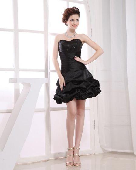 Pequeño Vestido Negro De Cóctel De Tafetán Plisado Mujer Escote Corazón Del Muslo Sin Mangas Rebordear