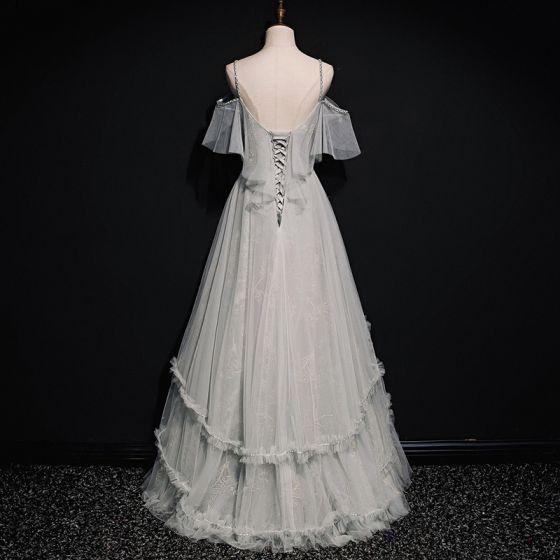 High-end Grey Prom Dresses 2020 A-Line / Princess Spaghetti Straps Short Sleeve Beading Floor-Length / Long Ruffle Backless Formal Dresses