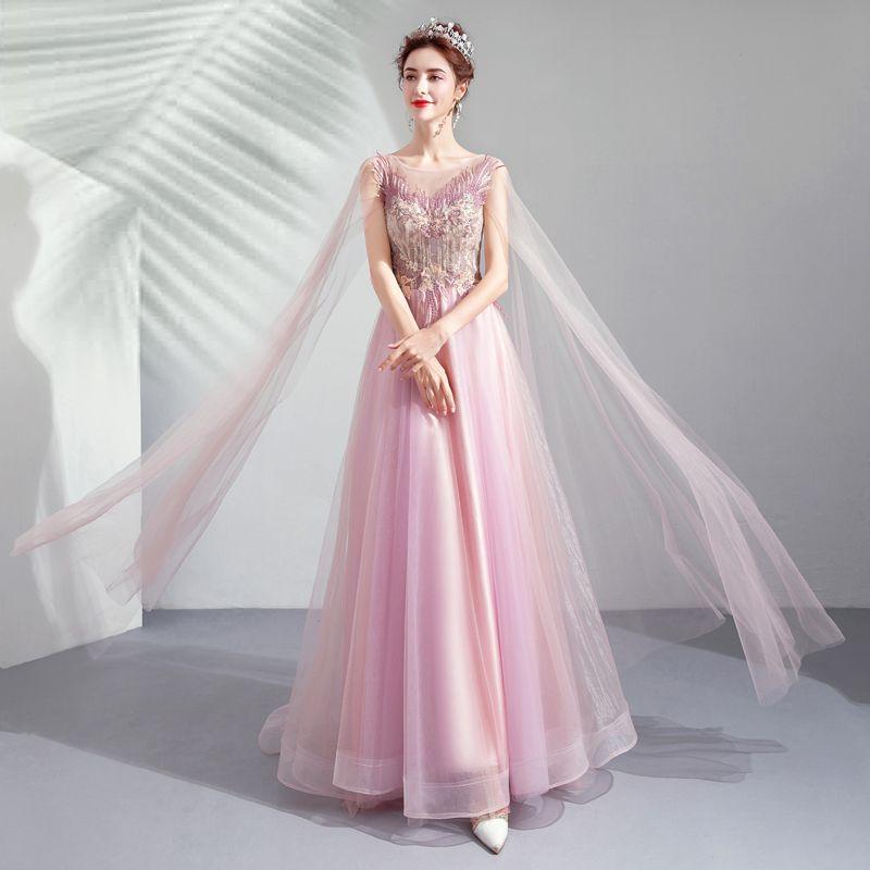Elegante Candy Roze Gelegenheid Jurken 2019 A lijn Ronde Hals Kant Bloem Kristal Korte Mouwen Ruglooze Lange Galajurken