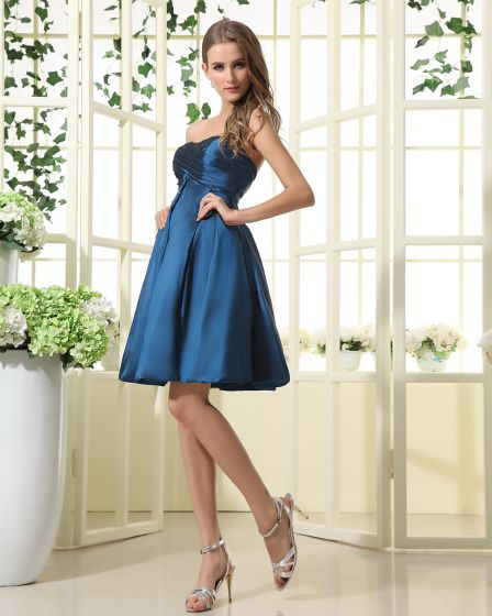 A-Line Strapless Taffeta Mini Short Bridesmaid Dress