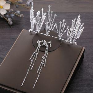 Modest / Simple Silver Bridal Jewelry 2019 Metal Rhinestone Tiara Tassel Earrings Wedding Accessories