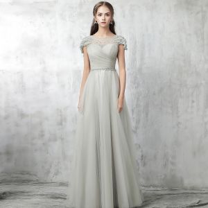 Chic / Beautiful Grey Evening Dresses  2017 Beading Pearl Zipper Up Scoop Neck Short Sleeve Ankle Length A-Line / Princess Formal Dresses