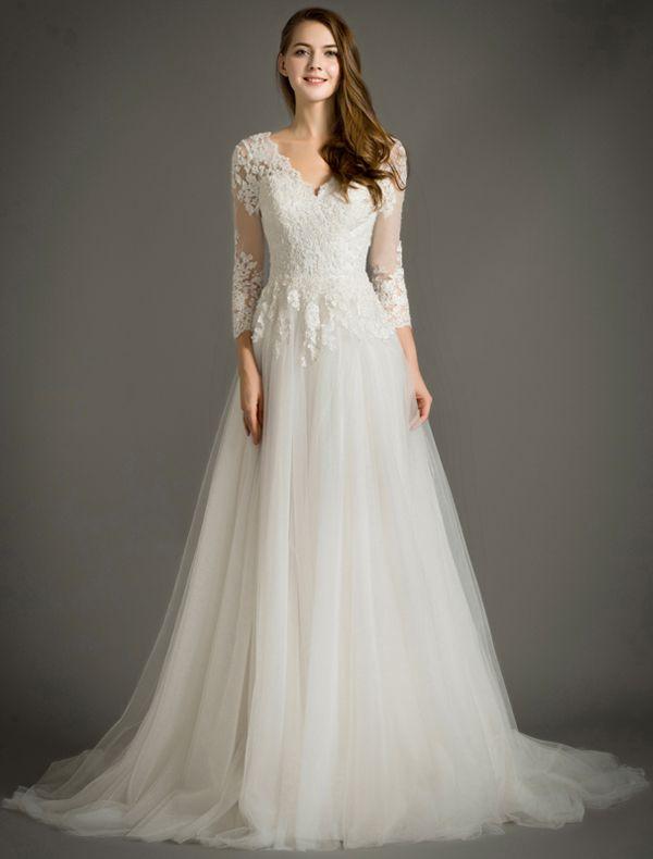 Elegantes A-line V-ausschnitt 3/4 Ärmel-spitze Brautkleid