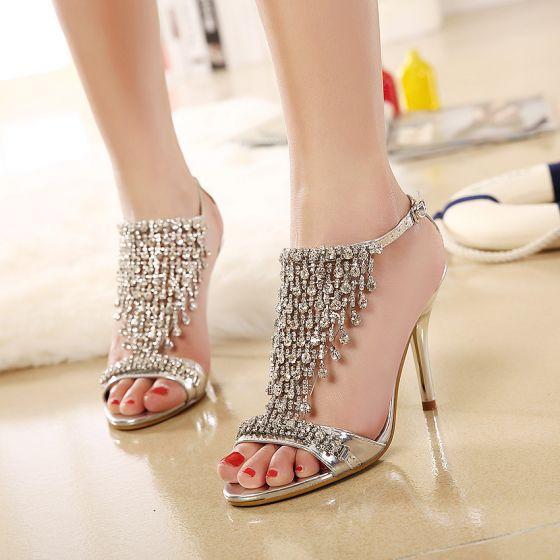 Charming Gold Evening Party Womens Sandals 2020 Rhinestone 9 cm Stiletto Heels Open / Peep Toe Sandals