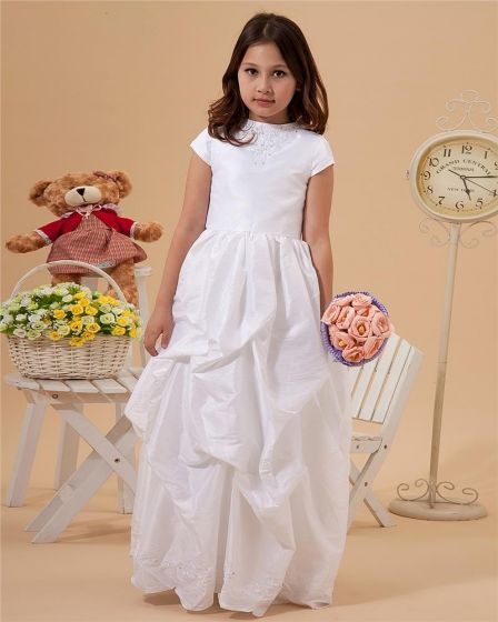 Bateau Taffeta Floor-Length Flower Girl Dresses
