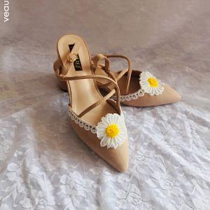Fine Gateklær Blonder Blomst Sandaler Dame 2020 X-Stropp 5 cm Stiletthæler Spisse Sandaler