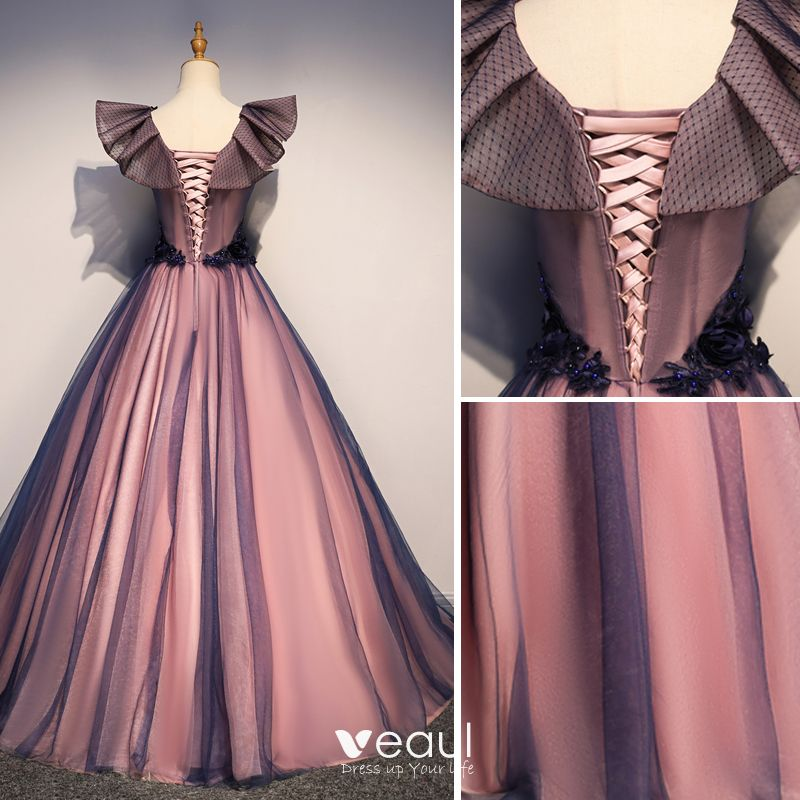 Elegant Purple Prom Dresses 2019 A-Line / Princess Square Neckline Pearl Appliques Lace Flower Sleeveless Backless Floor-Length / Long Formal Dresses