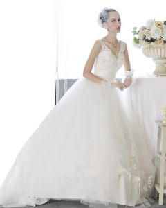 Satin Tulle Beading V Neck Floor Length Court Train A-Line Wedding Dress