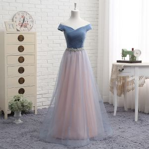 Affordable Pearl Pink Bridesmaid Dresses 2019 A-Line / Princess Off-The-Shoulder Short Sleeve Rhinestone Sash Floor-Length / Long Ruffle Backless Wedding Party Dresses