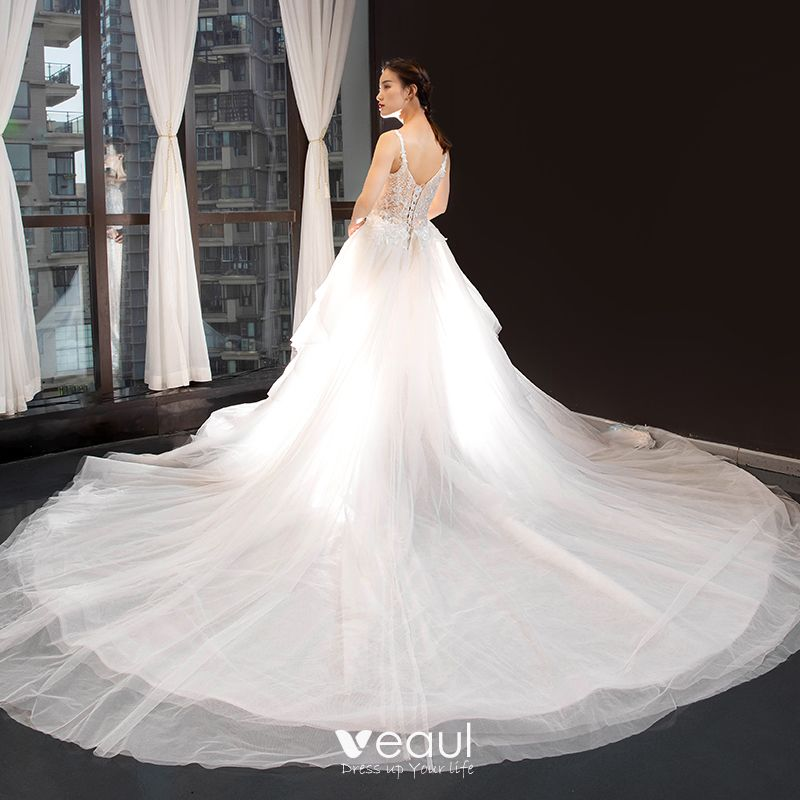 Detachable Cathedral Train Wedding Gown: Luxury / Gorgeous Champagne Wedding Dresses 2020 Trumpet