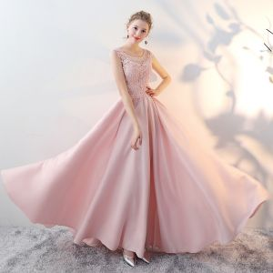 Chic / Beautiful Blushing Pink Evening Dresses  2017 A-Line / Princess Pierced Scoop Neck Sleeveless Appliques Lace Rhinestone Beading Floor-Length / Long Backless Formal Dresses