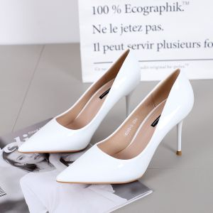 Chic / Beautiful White OL Pumps 2019 9 cm Stiletto Heels Pointed Toe Pumps