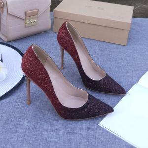 Sparkly Burgundy Evening Party Pumps 2020 Sequins 10 cm Stiletto Heels Pointed Toe Pumps