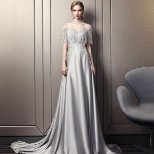Luxury Grey Evening Dress