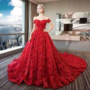 Luxury / Gorgeous Red Lace Wedding Dresses 2018 Ball Gown Off-The-Shoulder Short Sleeve Backless Rhinestone Beading Sequins Ruffle Royal Train