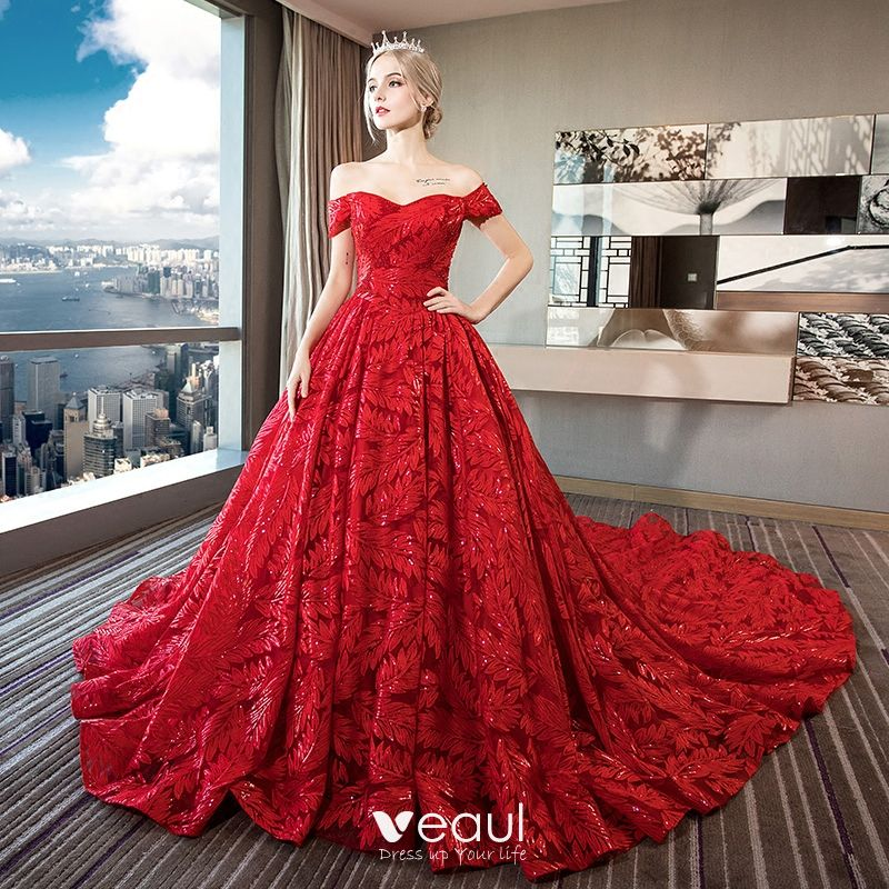 Red Ball Gown Wedding Dresses: Luxury / Gorgeous Red Lace Wedding Dresses 2018 Ball Gown