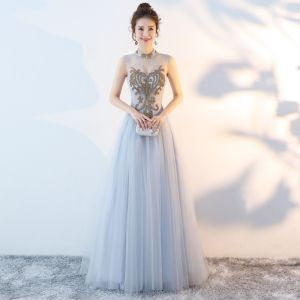 Chinese style Grey Evening Dresses  2018 A-Line / Princess High Neck Sleeveless Rhinestone Court Train Ruffle Backless Formal Dresses