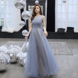 Mode Meeresblau Abendkleider 2019 A Linie Rundhalsausschnitt Perlenstickerei Pailletten Spitze Blumen Ärmellos Rückenfreies Lange Festliche Kleider