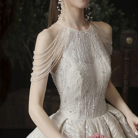Bäst Champagne Bröllopsklänningar 2020 Prinsessa Urringning Ärmlös Halterneck Glittriga / Glitter Tyll Beading Cathedral Train Ruffle