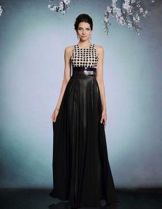 Czarne Cekiny Backless Długie Suknie Wieczorowe Sukienki Firm