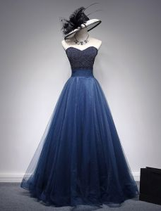 Beautiful Prom Dresses 2016 Beading Sweetheart Neckline Ruffle Navy Blue Tulle Dress