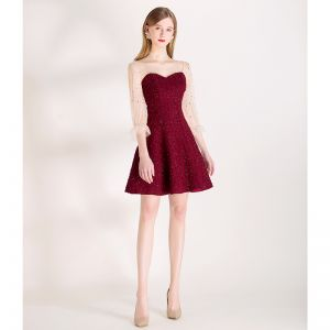 Sexy Burgundy Star Sequins Party Dresses 2020 A-Line / Princess Square Neckline Bell sleeves Backless Short Formal Dresses