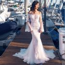 Charming Ivory Wedding Dresses 2019 Trumpet / Mermaid Off-The-Shoulder Lace Flower Long Sleeve Backless Chapel Train