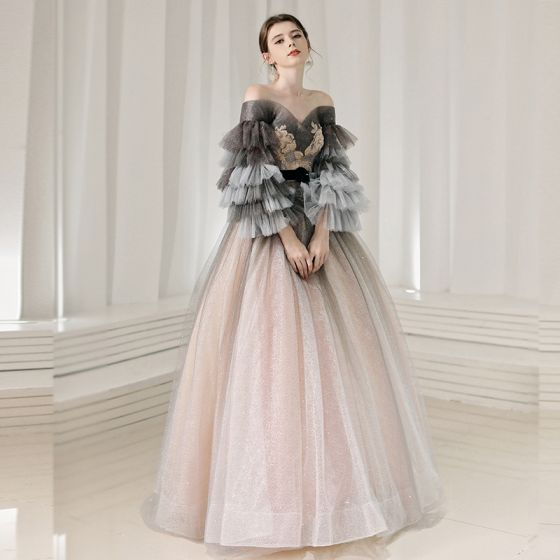 Elegant Pearl Pink Prom Dresses 2020 Princess Off-The-Shoulder Long Sleeve Glitter Tulle Appliques Lace Beading Sash Floor-Length / Long Ruffle Backless Formal Dresses