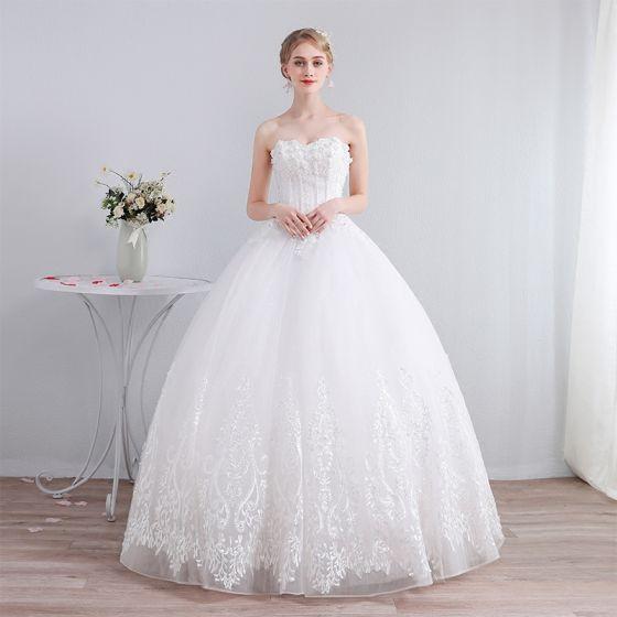 Najlepiej Kość Słoniowa Gorset Suknie ślubne 2019 Princessa Kochanie