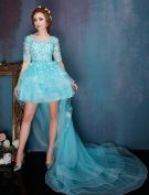 Beautiful Blue Cocktail Dress Flower Scoop Neckline Organza Party Dress With Long Tailing