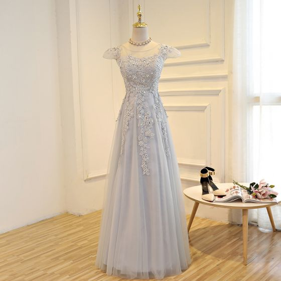 Chic / Beautiful Grey Prom Dresses 2017 A-Line / Princess Lace Flower Sequins Scoop Neck Backless Cap Sleeves Ankle Length Formal Dresses