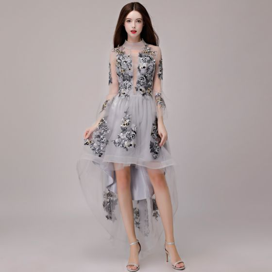 High Low Grey Cocktail Dresses 2018 A-Line / Princess Lace Appliques Asymmetrical High Neck 3/4 Sleeve Formal Dresses