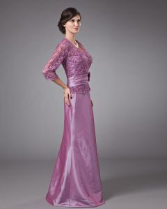 Beautiful V-Neck Floor Length Taffeta Lace Bead Mothers of Bride Dress