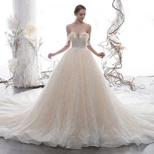 Luxury / Gorgeous Champagne Wedding Dresses 2020 A-Line / Princess Off-The-Shoulder Short Sleeve Backless Glitter Tulle Appliques Lace Sequins Beading Cathedral Train Ruffle