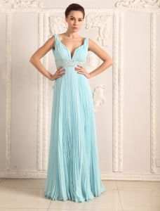 2015 Empire Shoulders Deep V-neck Beading Sash Pleated Chiffon Evening Dress