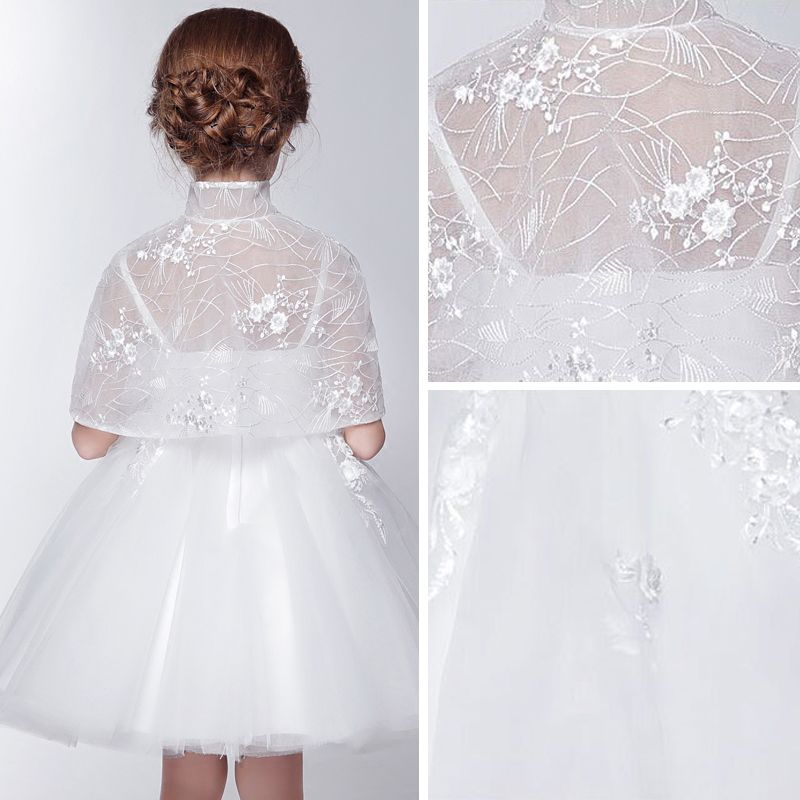 2 Piece Church Wedding Party Dresses 2017 Flower Girl Dresses White Short Ball Gown Cascading Ruffles 1/2 Sleeves High Neck Lace Appliques Beading