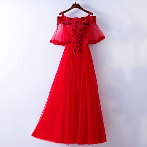 Chic / Beautiful Red Evening Dresses  2017 A-Line / Princess Beading Lace Flower Sequins Artificial Flowers Spaghetti Straps Strapless 1/2 Sleeves Ankle Length Evening Party