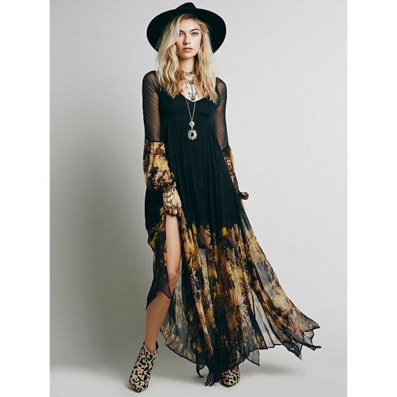Bohemia Black Summer Casual Maxi Dresses 2018 A-Line / Princess Printing V-Neck Long Sleeve Ankle Length Women's Clothing