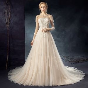 Elegant Champagne See-through Wedding Dresses 2020 A-Line / Princess Scoop Neck 3/4 Sleeve Backless Appliques Lace Beading Court Train Ruffle