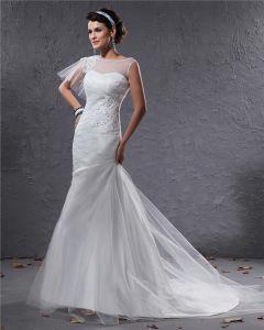 Elegant Tüll Charmeuse Perlen Bateau Bodenlange Mermaid Brautkleid