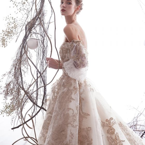 Luxury / Gorgeous Champagne Wedding Dresses 2019 A-Line / Princess Spaghetti Straps Beading Crystal Lace Flower 3/4 Sleeve Backless Royal Train