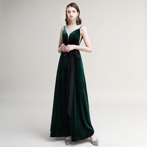 Élégant Vert Foncé Daim Robe De Soirée 2020 Princesse Bretelles Spaghetti Noeud Sans Manches Dos Nu Longue Robe De Ceremonie